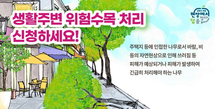 생활주변 위험수목 처리 신청하세요!  주택지 등에 인접한 나무로서 바람, 비 등의 자연현상으로 인해 쓰러짐 등  피해가 예상되거나 피해가 발생하여 긴급히 처리해야 하는 나무